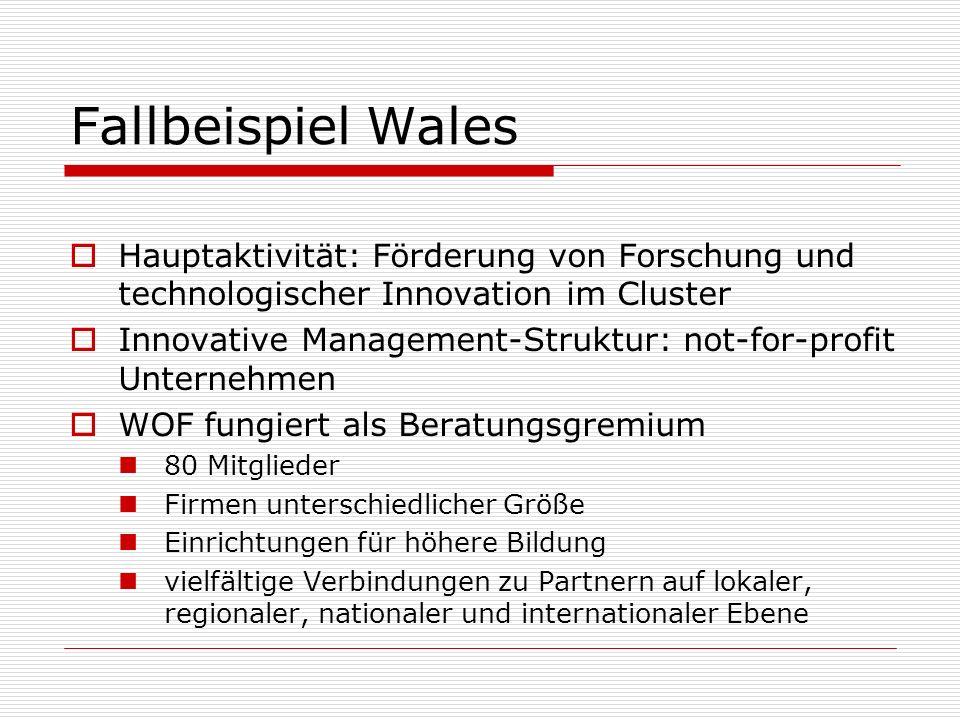 Fallbeispiel Wales Hauptaktivität: Förderung von Forschung und technologischer Innovation im Cluster.