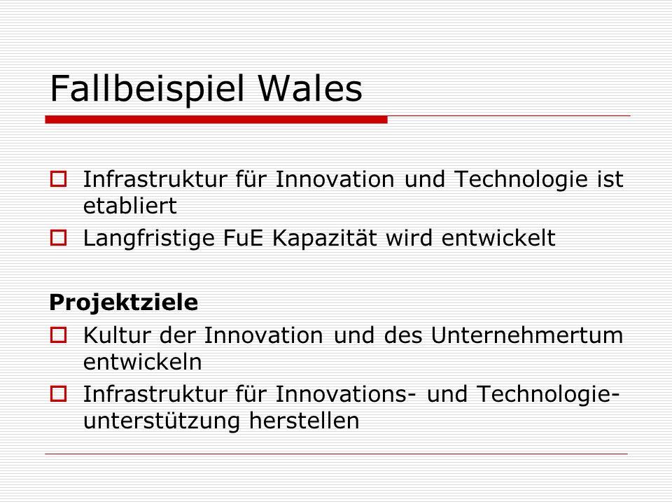 Fallbeispiel Wales Infrastruktur für Innovation und Technologie ist etabliert. Langfristige FuE Kapazität wird entwickelt.