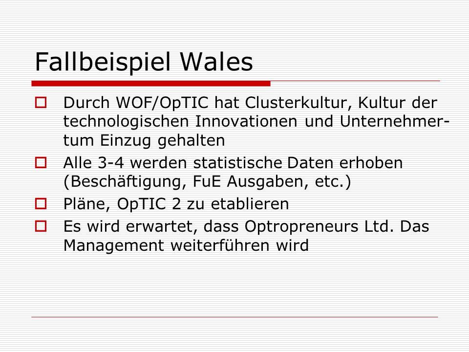Fallbeispiel Wales Durch WOF/OpTIC hat Clusterkultur, Kultur der technologischen Innovationen und Unternehmer-tum Einzug gehalten.
