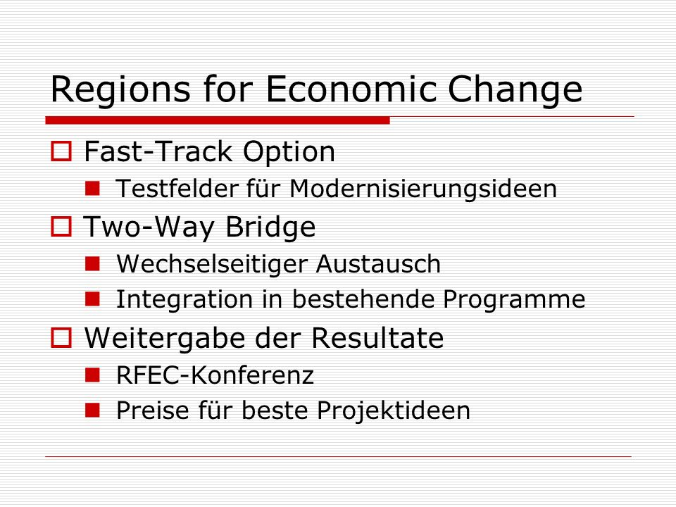 Regions for Economic Change