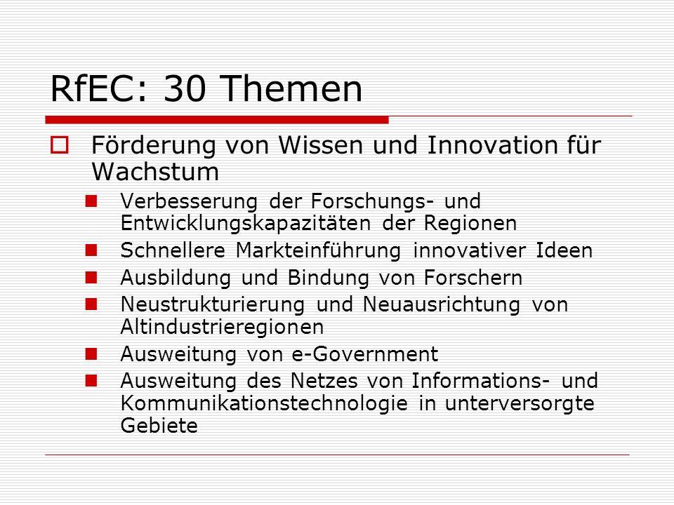 RfEC: 30 Themen Förderung von Wissen und Innovation für Wachstum