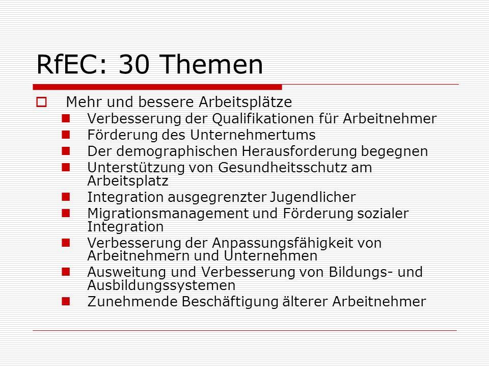 RfEC: 30 Themen Mehr und bessere Arbeitsplätze