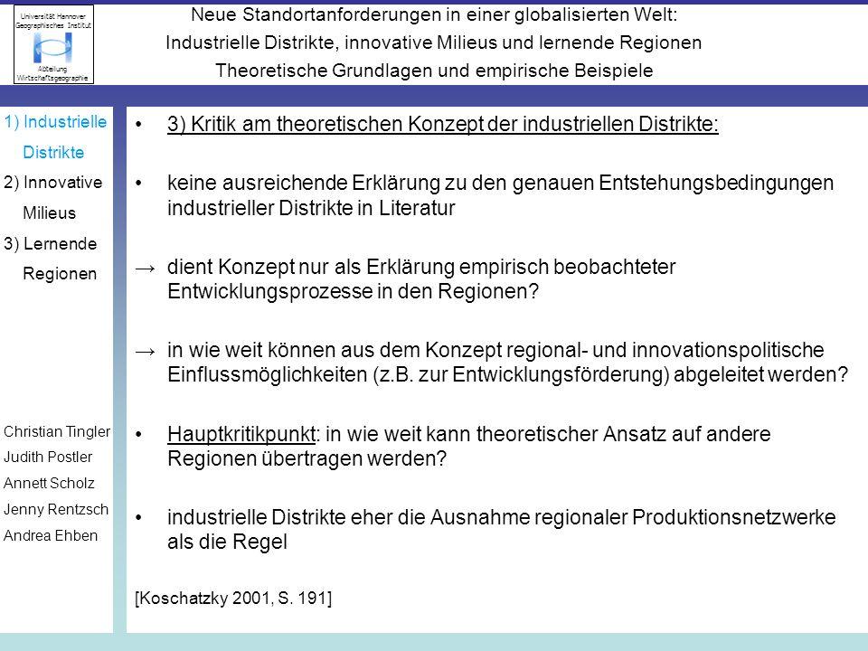3) Kritik am theoretischen Konzept der industriellen Distrikte: