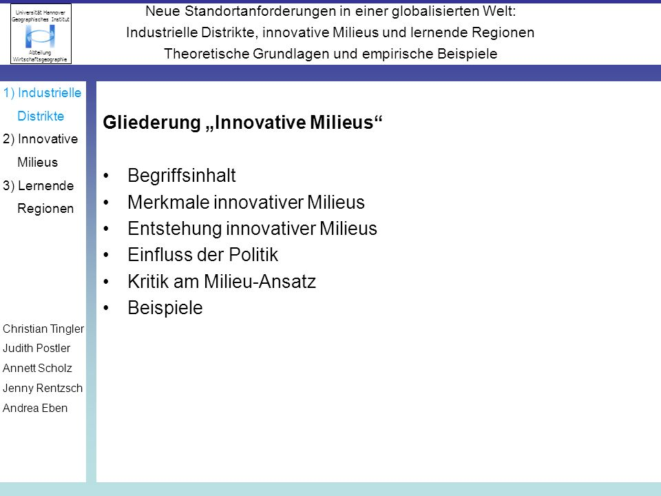 """Gliederung """"Innovative Milieus Begriffsinhalt"""