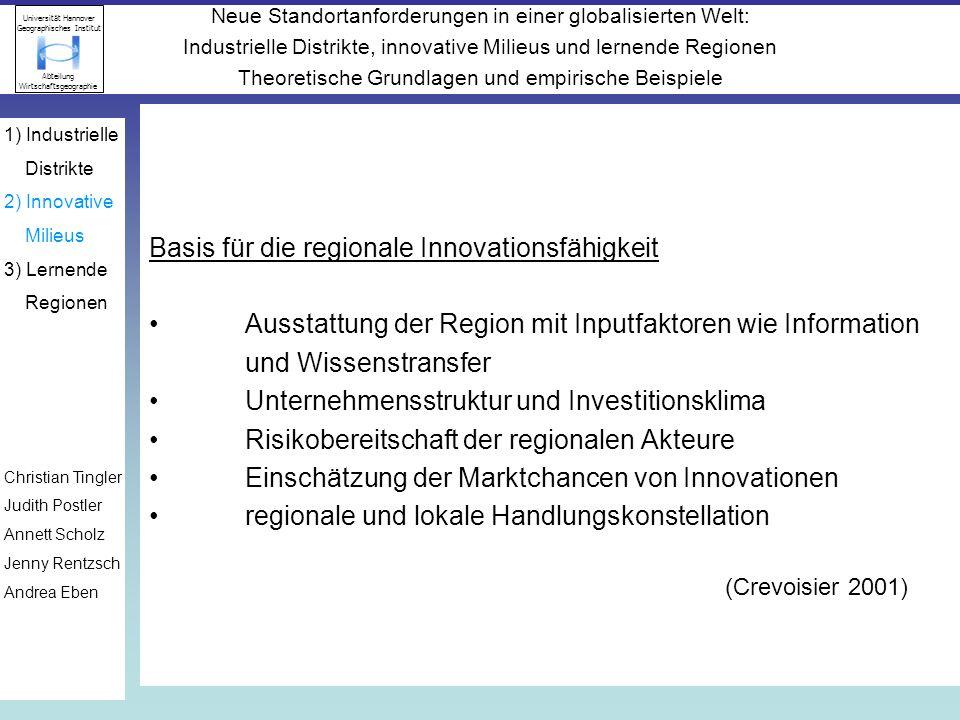 Basis für die regionale Innovationsfähigkeit
