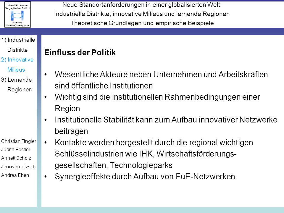 Wichtig sind die institutionellen Rahmenbedingungen einer Region