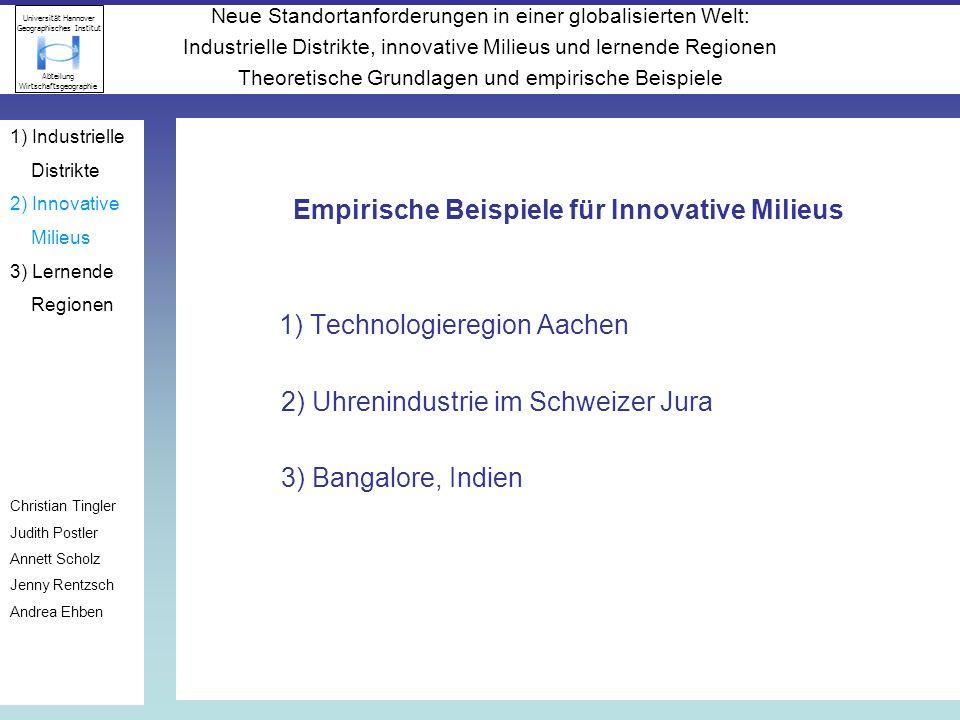 Empirische Beispiele für Innovative Milieus