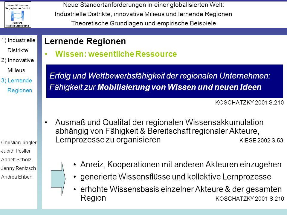 Lernende Regionen Wissen: wesentliche Ressource