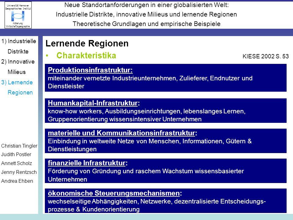 Lernende Regionen Charakteristika KIESE 2002 S. 53