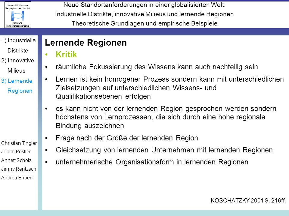 Lernende Regionen Kritik