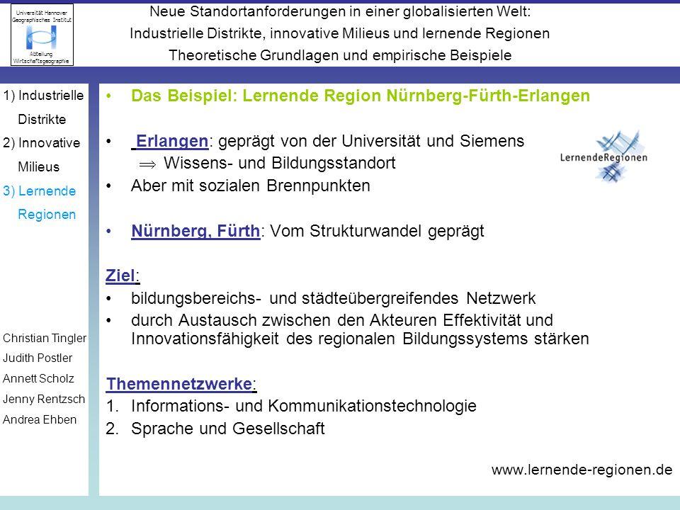 Das Beispiel: Lernende Region Nürnberg-Fürth-Erlangen