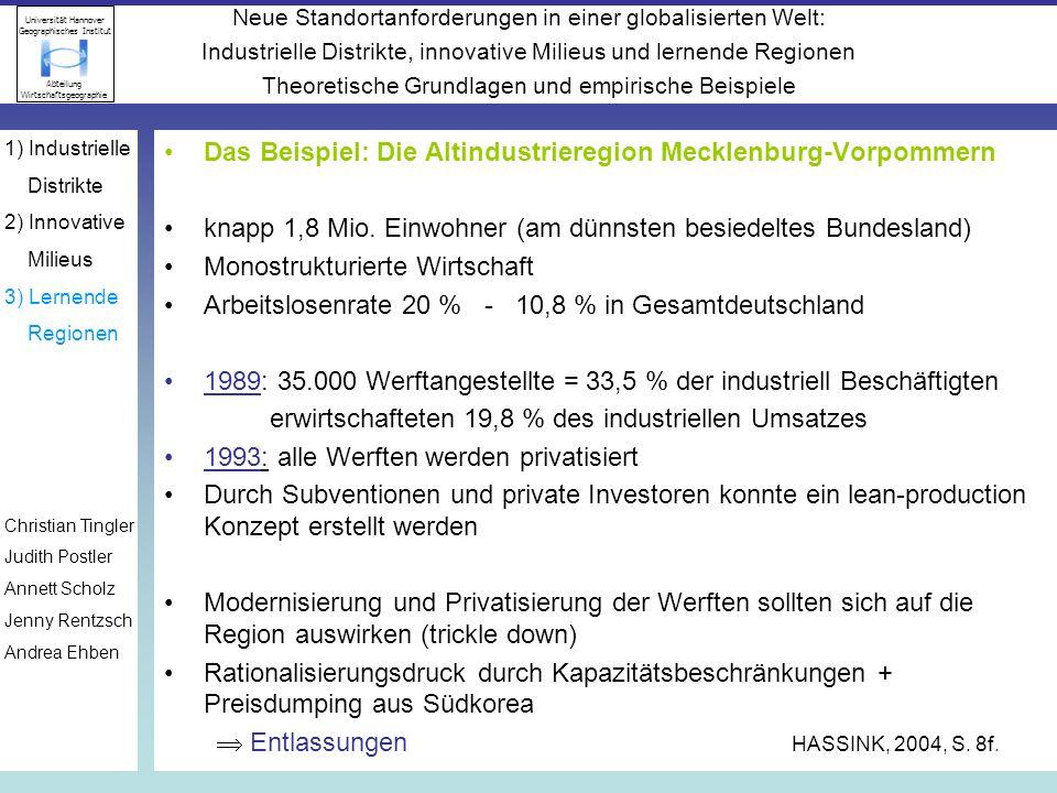 Das Beispiel: Die Altindustrieregion Mecklenburg-Vorpommern