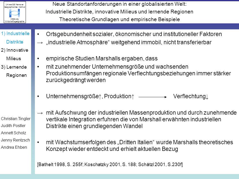 Ortsgebundenheit sozialer, ökonomischer und institutioneller Faktoren