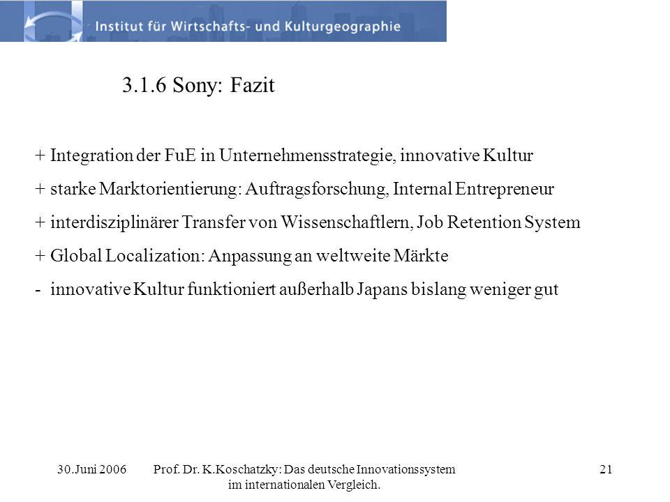 3.1.6 Sony: Fazit + Integration der FuE in Unternehmensstrategie, innovative Kultur.