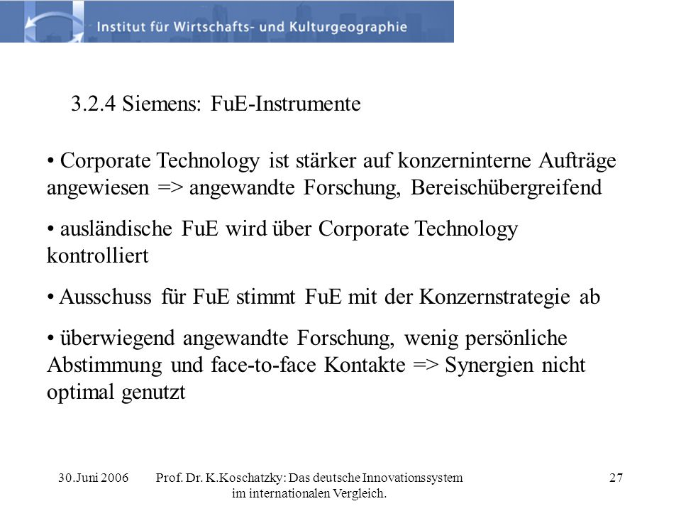3.2.4 Siemens: FuE-Instrumente