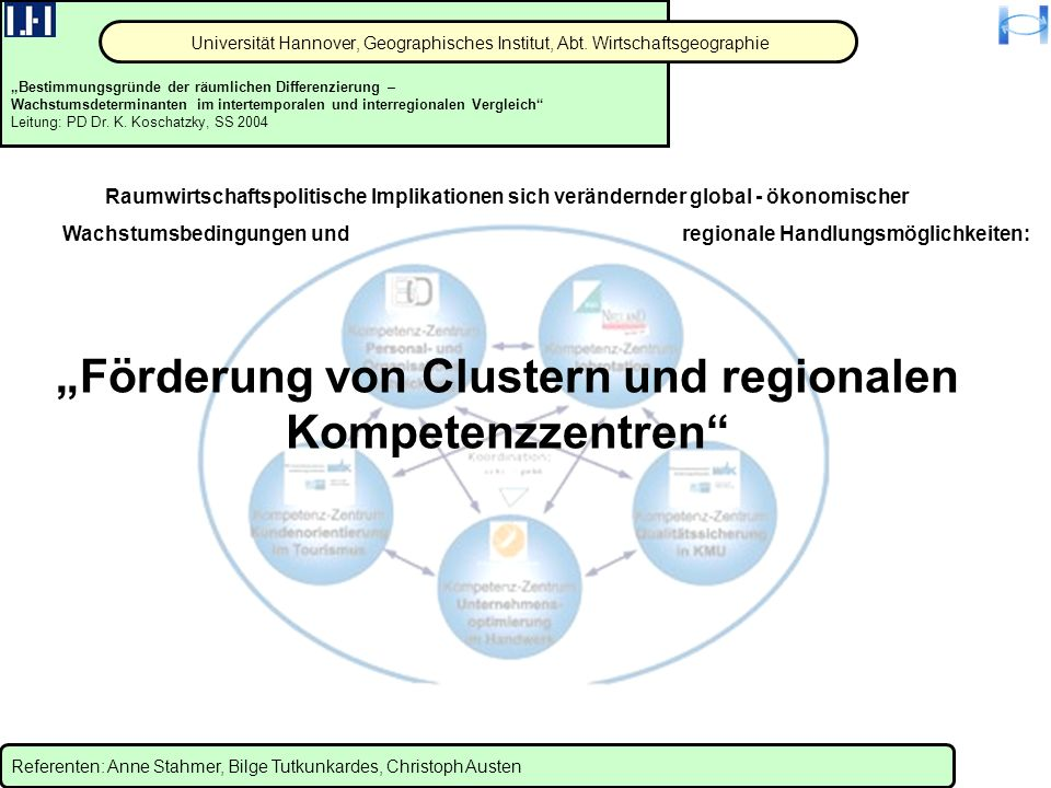 """""""Förderung von Clustern und regionalen Kompetenzzentren"""