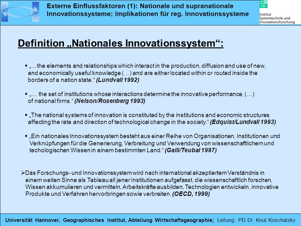 "Definition ""Nationales Innovationssystem :"