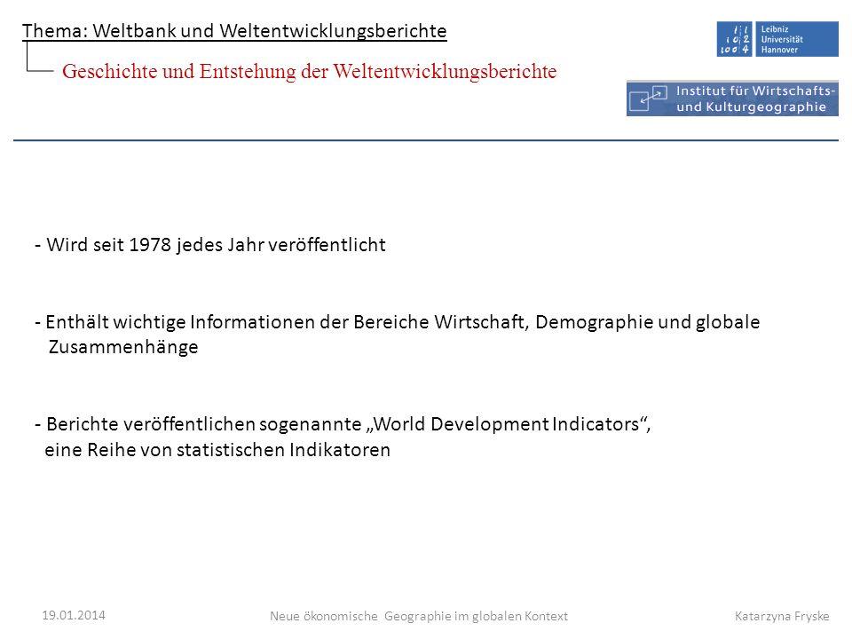 Geschichte und Entstehung der Weltentwicklungsberichte