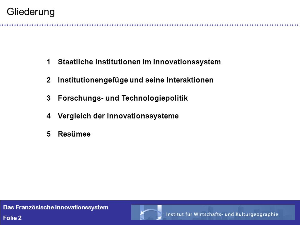 Gliederung Staatliche Institutionen im Innovationssystem