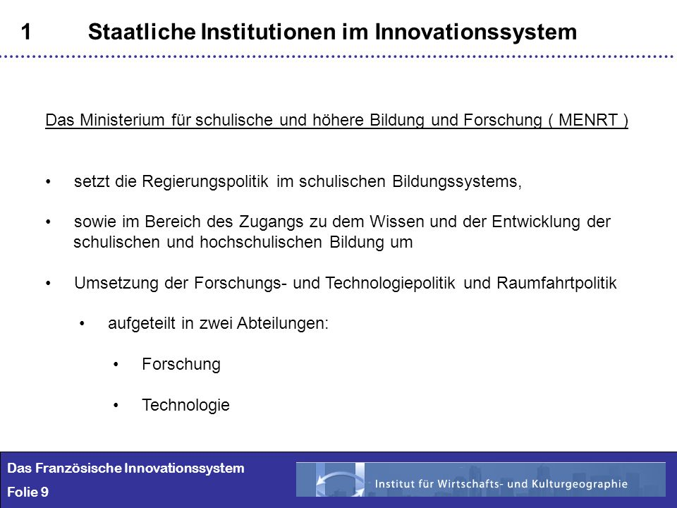 1 Staatliche Institutionen im Innovationssystem