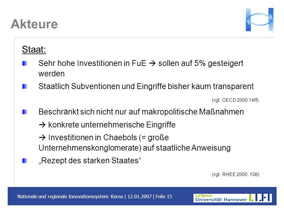 Akteure Staat: Sehr hohe Investitionen in FuE  sollen auf 5% gesteigert werden. Staatlich Subventionen und Eingriffe bisher kaum transparent.