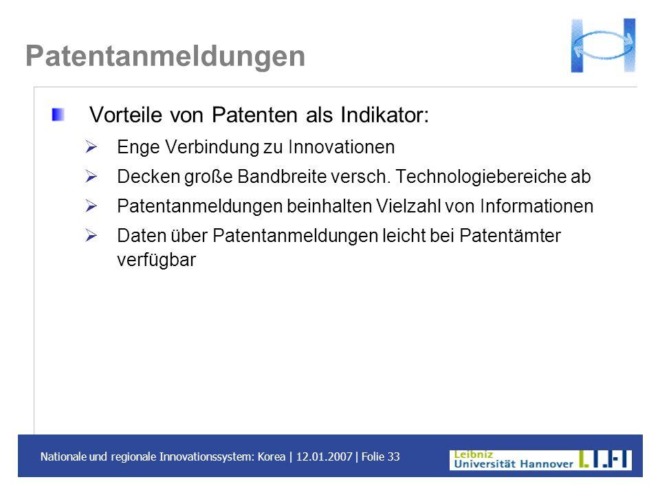 Patentanmeldungen Vorteile von Patenten als Indikator: