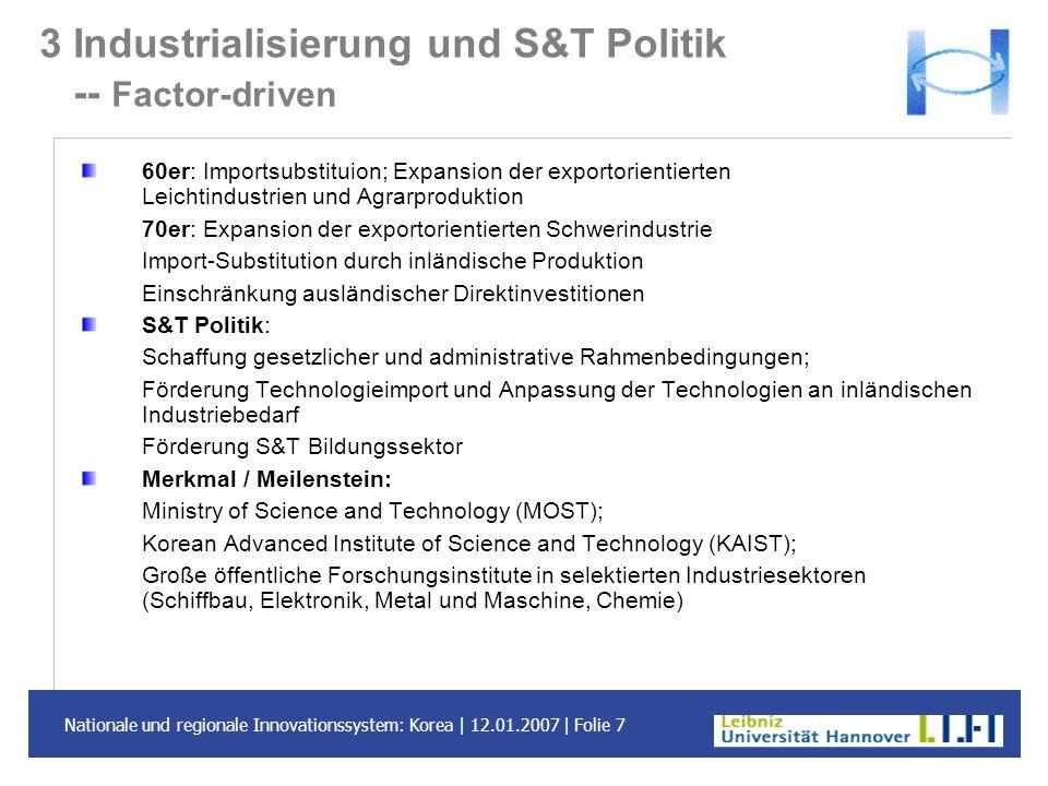 3 Industrialisierung und S&T Politik -- Factor-driven