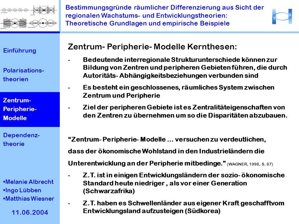 Zentrum- Peripherie- Modelle Kernthesen: