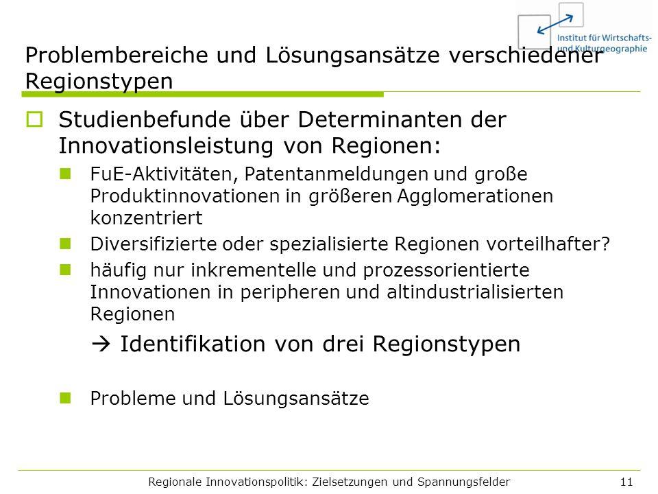 Problembereiche und Lösungsansätze verschiedener Regionstypen