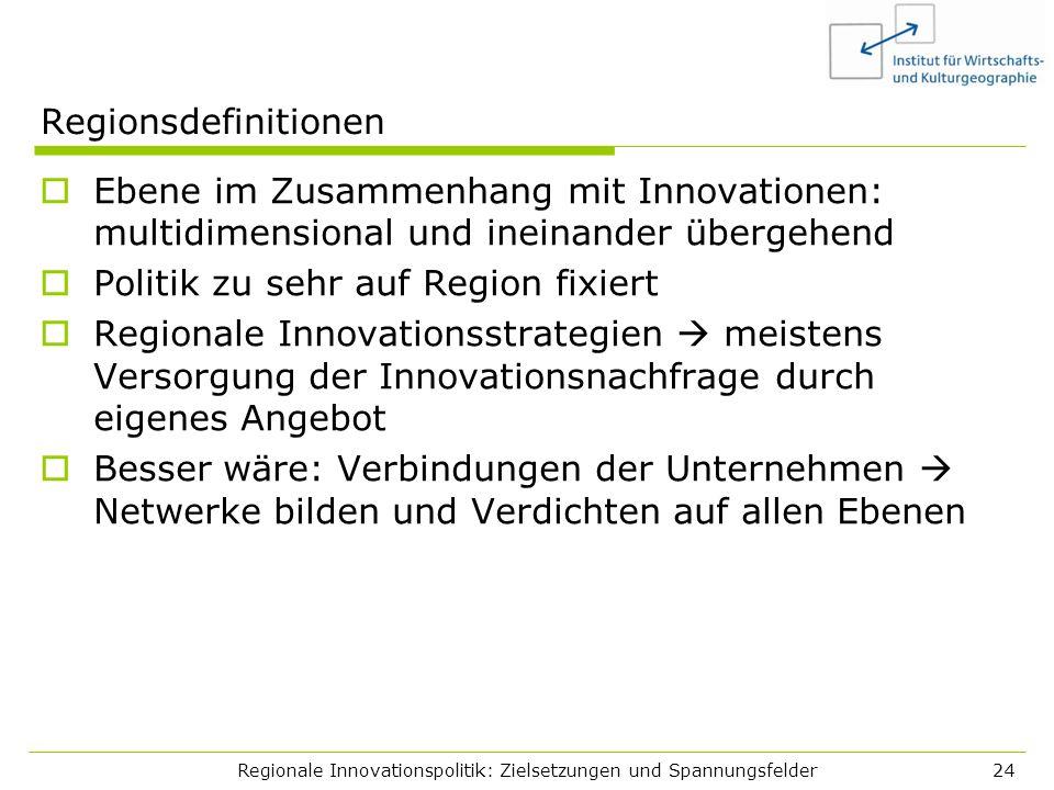 Regionale Innovationspolitik: Zielsetzungen und Spannungsfelder