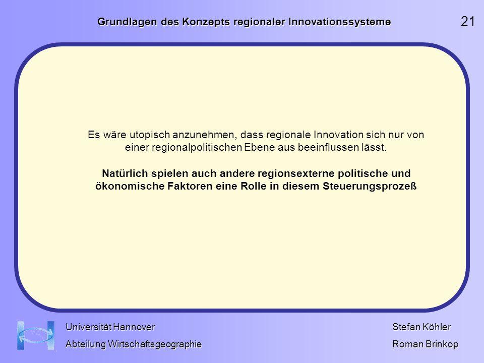 Grundlagen des Konzepts regionaler Innovationssysteme