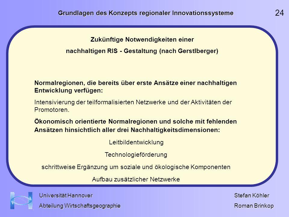 24 Grundlagen des Konzepts regionaler Innovationssysteme