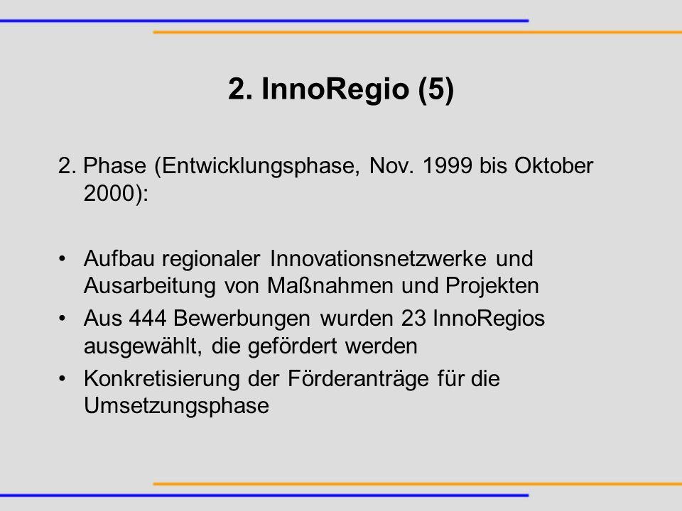 2. InnoRegio (5) 2. Phase (Entwicklungsphase, Nov. 1999 bis Oktober 2000):