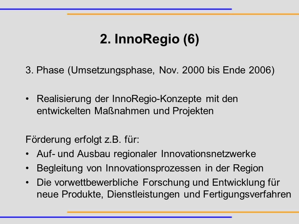 2. InnoRegio (6) 3. Phase (Umsetzungsphase, Nov. 2000 bis Ende 2006)