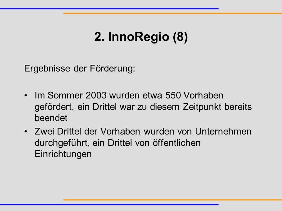 2. InnoRegio (8) Ergebnisse der Förderung: