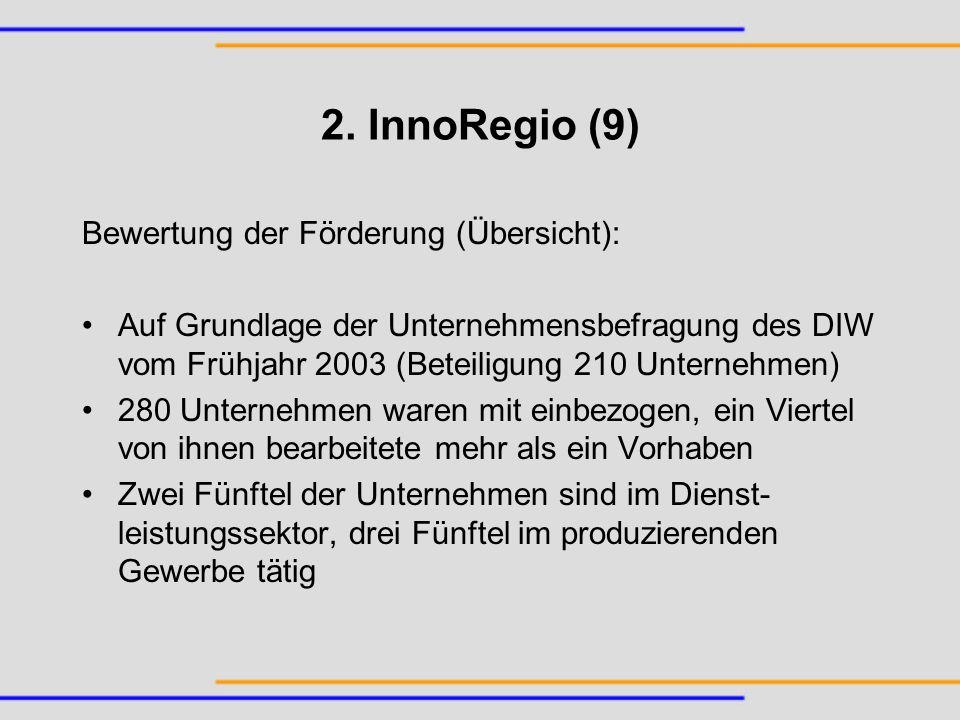 2. InnoRegio (9) Bewertung der Förderung (Übersicht):