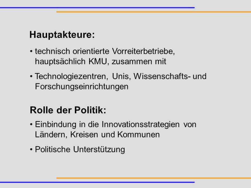Hauptakteure: Rolle der Politik: