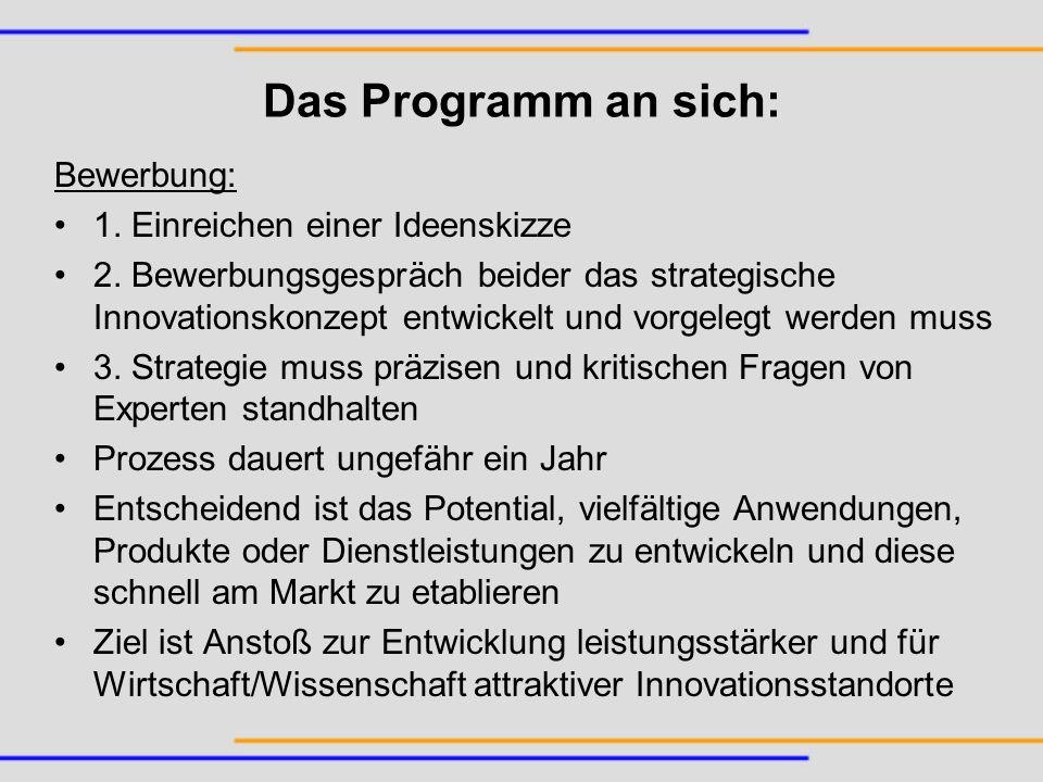Das Programm an sich: Bewerbung: 1. Einreichen einer Ideenskizze