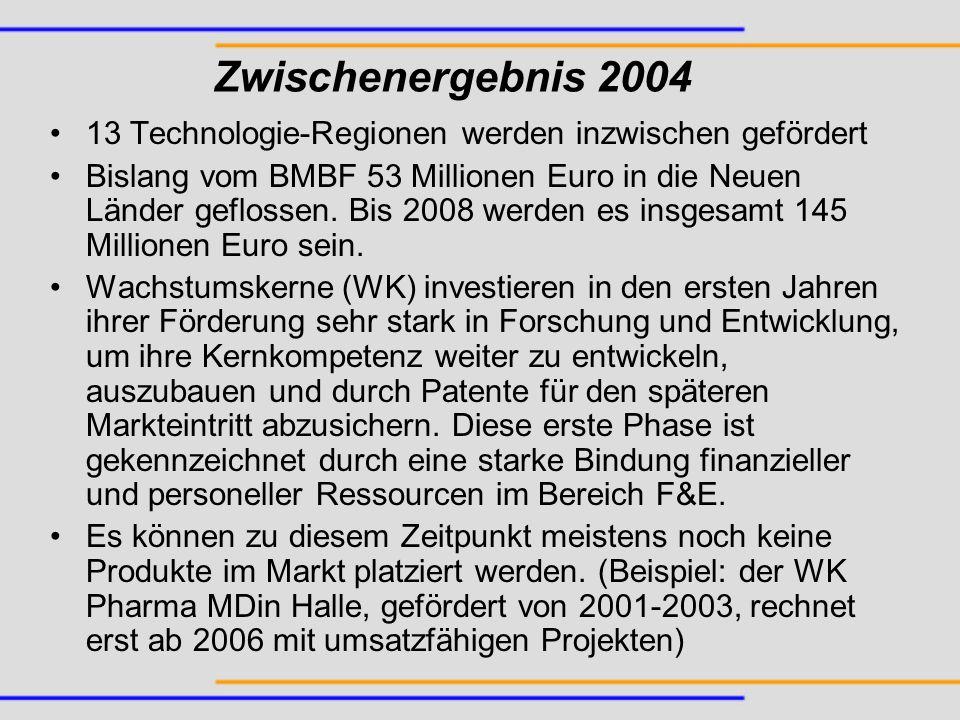 Zwischenergebnis 2004 13 Technologie-Regionen werden inzwischen gefördert.