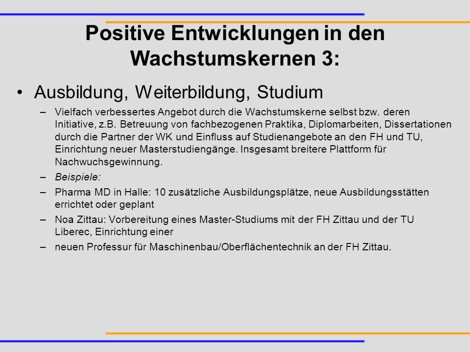 Positive Entwicklungen in den Wachstumskernen 3: