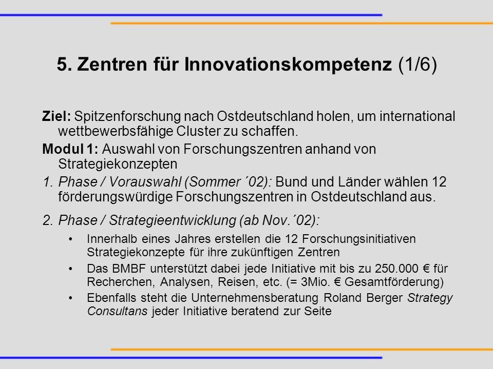 5. Zentren für Innovationskompetenz (1/6)