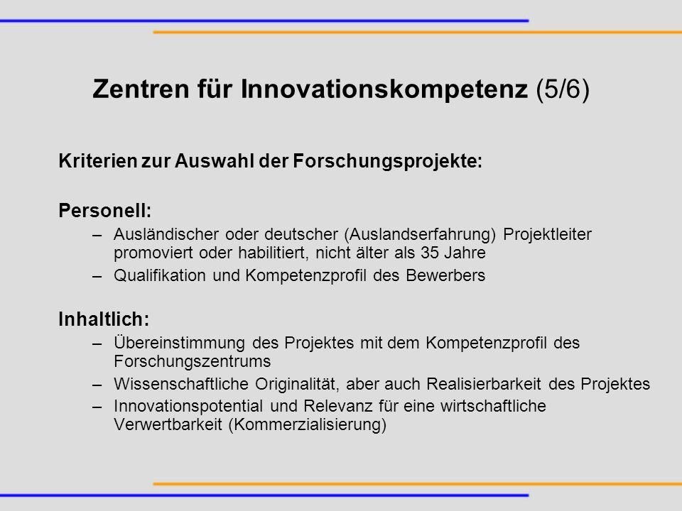 Zentren für Innovationskompetenz (5/6)