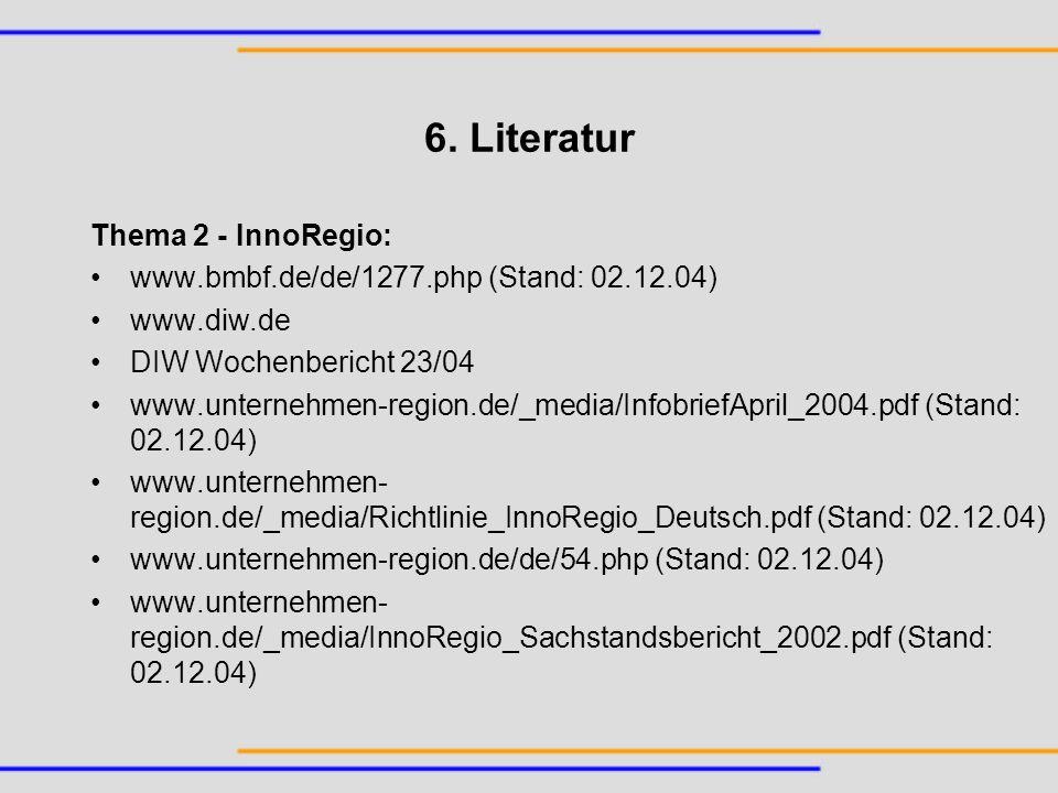 6. Literatur Thema 2 - InnoRegio: