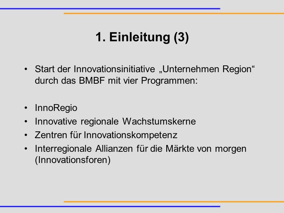 """1. Einleitung (3) Start der Innovationsinitiative """"Unternehmen Region durch das BMBF mit vier Programmen:"""