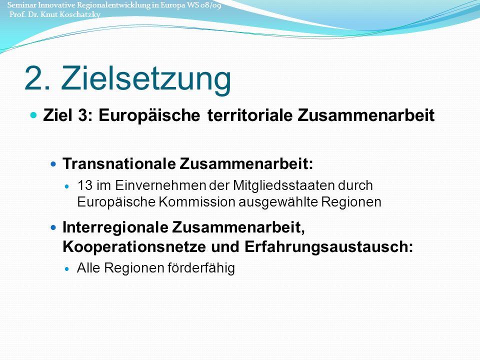 2. Zielsetzung Ziel 3: Europäische territoriale Zusammenarbeit