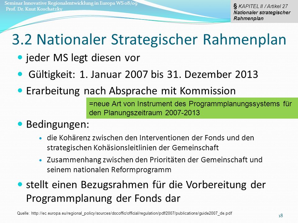 3.2 Nationaler Strategischer Rahmenplan