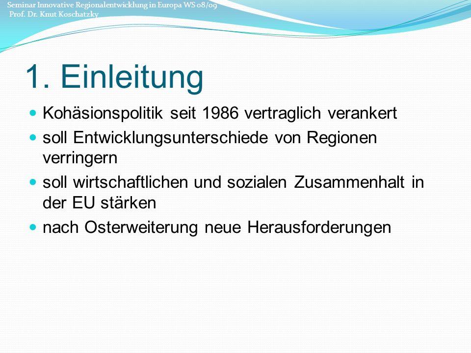 1. Einleitung Kohäsionspolitik seit 1986 vertraglich verankert