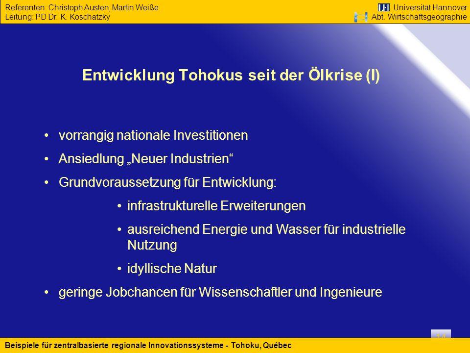 Entwicklung Tohokus seit der Ölkrise (I)