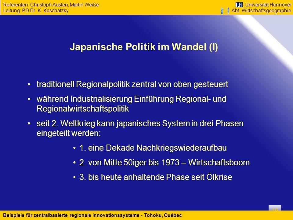 Japanische Politik im Wandel (I)