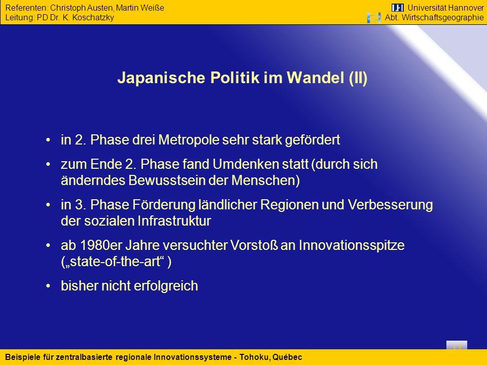 Japanische Politik im Wandel (II)
